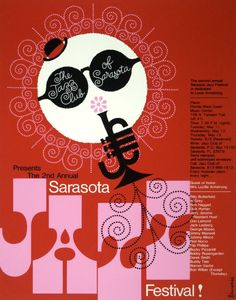 Alex Steinweiss, Sarasota Jazz Festival, 1984 #graphicdesign #design #poster