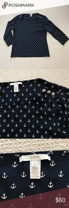 J. Crew navy silk anchor top size 12 J. Crew navy silk anchor top size 12 in like new condition. Amazing shirt for spring and summer. So classic and elegant. J. Crew Tops