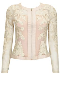 Pale pink and ivory applique work cardigan available only at Pernia's Pop-Up Shop