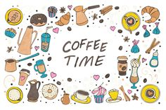 Coffee Time doddle collection Graphics Hand drawn vector collection of doddle **coffee**, spices, sweets and bakery icons and seamless patt by Lidiebug Pattern Illustration, Graphic Illustration, Icon Design, Design Art, Design Ideas, Graphic Design, Pattern Art, Pattern Design, Bakery Icon