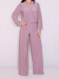 Long sleeve jumpsuit Wide leg jumpsuit Light purple jumpsuit