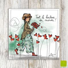 """Greeting card """"Tout le bonheur"""" illustrated by Myra Vienne - Editionsdecortil. Illustrator, Material Didático, Comic Drawing, Kid Character, Message Card, Mail Art, Beautiful Paintings, Art Pictures, Thoughts"""