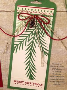 DIY handmade Tag made with one of my favorite bundles in the Stampin' Up! Holiday Catalog called Christmas Pines. This is an add on projects to a Christmas Decor class being offered now.