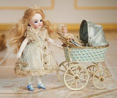 German All-Bisque Miniature Doll with Maerklin Carriage and Tiny Mignonette 900/1300 Auctions Online | Proxibid