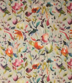 Absolutely stunning contemporary fabric with a striking, colourful floral design printed onto a chunky linen/cotton base cloth.
