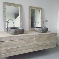 Badkamermeubel zwevend van steigerhout met 2 lades naast elkaar (51220131130ZW)