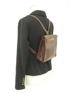 f22545fe13eb AUTHENTIC HERMES KELLY SPORT ADO PM BROWN VEAU GULLIVER LEATHER BACK PACK  FRANCE
