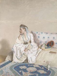 Portret van Marie Fargues, echtgenote van de kunstenaar, in Turks kostuum, Jean-Etienne Liotard, 1756 - 1758