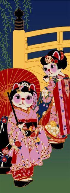 Cat Series Tenugui Towel Maiko