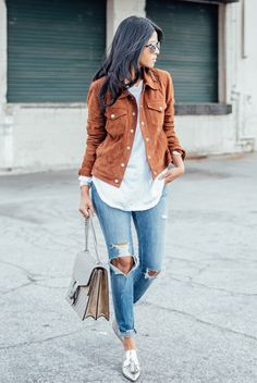 fall / winter - street style - street chic style - fall outfits - winter outfits - casual outfits - brown suede jacket + white long sleeve tee + skinny jeans + silver loafers + beige shoulder bag + silver aviator sunglasses