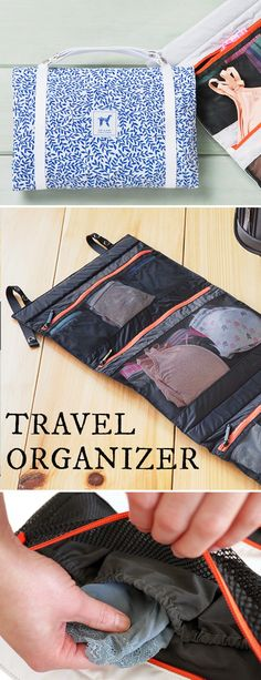 This travel organizer makes packing simple. Smartly designed with plenty of compartments for underwear and other small items, so everything stays tidy when you travel. Dirty laundry stays separate, too.