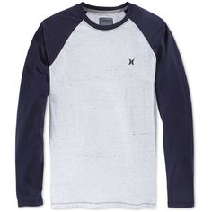 Hurley Men's Ellis Long-Raglan-Sleeve T-Shirt ($40) ❤ liked on Polyvore  featuring men's fashion, men's clothing, men's shirts, men's t-shirts, white,  mens ...