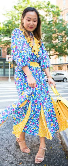 Colorful dress bright, vintage dress outfit, colorful outfit ideas, NYFW street style SS18. Get the look on www.layersofchic.com