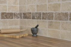 Natural Stone Tumbled-Travertine-Marble-White-Walnut-Wall-Tiles per meter Brown Kitchen Tiles, Kitchen Wall Tiles, Wall And Floor Tiles, Rustic Kitchen, Kitchen Ideas, Stone Kitchen, Travertine Tile Backsplash, Travertine Bathroom, Mosaic Backsplash