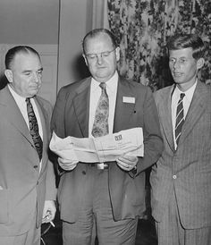 Photo of John F. Kennedy as a candidate for Congress in Boston's 11th district, 1946. He was one of the speakers at the annual Conference of Governmental Research held in Boston. Also pictured are W. Reg Long, Massachusetts commissioner of veterans aids and pension and Charles J. Fox, Boston's city auditor. Date 12 September 1946.