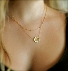 Gold Layering Necklaces, Set of 2, Hammered Disc, Satellite Chain
