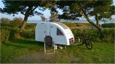 The Wide Path Camper is designed with the bicycle camper in mind. It features windows, a 97 x 200 cm bed, 300L of storage space, and a sitting area for 2 people.