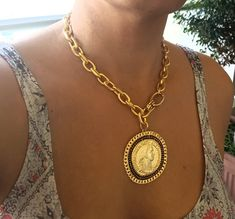 ♦ A gold links chain necklace, made of gold-plated brass with a black zircon, The necklace is designed in a chic style decorated with coin pendant. SIZE: length up to cm) widt Gold Coin Necklace, Coin Jewelry, Necklace Set, Jewellery, Coin Pendant, Pendant Earrings, Women's Earrings, Pendant Set, Gold Medallion