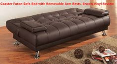 Coaster Futon Sofa Bed with Removable Arm Rests, Brown Vinyl Review