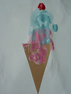 The Peanuts Gang: National Ice Cream Day!    Fingerpaint ice cream cone with thumbprint cherry