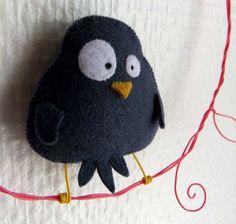 Fat little felt blackbird