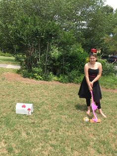The Queen of Hearts playing croquet HER way!