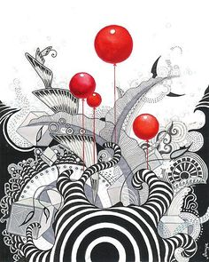 love the pop of red (by Annya Kai) - More doodle ideas - Zentangle - doodle - doodling - zentangle patterns.POP of color (by Annya Kai) Good idea for project prior to b w stuff. Transition to color pencilHas Anybody Seen My Zebra? by Annya Kai - well Doodles Zentangles, Zentangle Drawings, Zentangle Patterns, Doodle Drawings, Zen Doodle, Doodle Art, Doodle Ideas, Zantangle Art, Wal Art