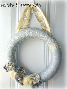 Yellow & Gray Yarn Wreath by WreathsByEmmaRuth on Etsy