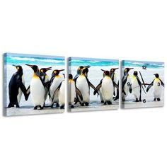 Zegar ścienny - obraz 4MyArt Pingwiny 105 x 35cm ◾ ◾ PrezentBox
