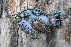 """Купить Брошь """"Джинсовая птичка"""" - синий, джинс, джинсовая ткань, птица, птичка, брошь-птица"""