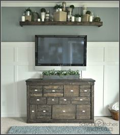 Turn your old Ikea shelf into a Pottery Barn style media cabinet. #potterybarnknockoff  #ikeamakeover #mediaconsole