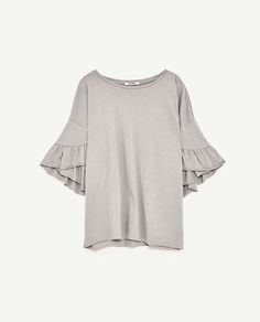 Image 6 of T-SHIRT WITH FRILLED SLEEVES from Zara