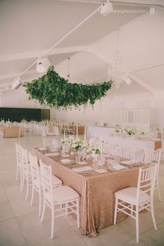 Glittery tables, emerald greens and a foliage chandelier over the dancefloor - this wedding is something special! (Hayley Takes Photos) Hanging Flower Arrangements, Hanging Flowers, Flower Centerpieces, Cape Town Wedding Venues, Green Wedding, Wedding Flowers, Wedding Ceiling, Glitter Wedding, Wedding Bells