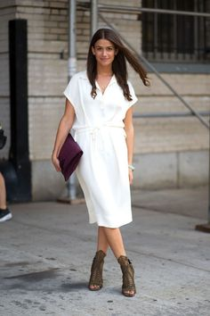 Amanda Weiner in The Row dress and Daniele Michetti shoes