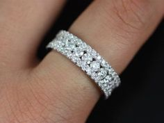 Haena 14kt Floating Shared Prong Channel Diamond Eternity Band (Other Metals and…