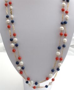 Red White Blue Lucite Bead Multi Strand Patriotic Gold Tone Necklace Vintage | eBay