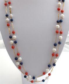 Red White Blue Lucite Bead Multi Strand Patriotic Gold Tone Necklace Vintage | eBay