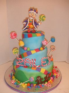 Candyland Cake This was a Candyland theme cake for a little Zailey a little girl turning 1. The cake was a 3 tier cake the bottom and top...