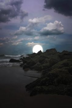 Moonlight at the beach in Asbury Park, New Jersey