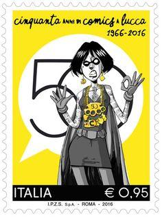 Francobollo celebrativo della cinquantesima edizione di Lucca Comics