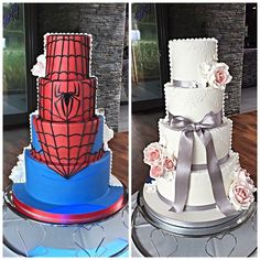 Half and half wedding cake marvel spiderman