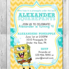 spongebob birthday party invitation  printable  spongebob, party invitations