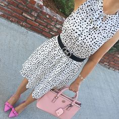 polka dot dress pink bow pumps spring work outfit