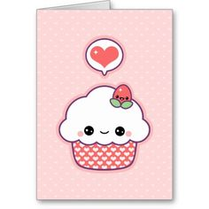 "Let your Valentine know how you feel with this super cute girly pink greeting card. Inside reads ""Strawberries are red. Blueberries are blue. Cupcakes are cute, and so are you!"""
