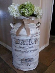"Step by step instructions of how to create this ""antiqued"" milk can *Found some old milk cans at an Antique store yest., so excited!!!"