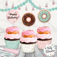 Donut Birthday Party Cupcake Circles and Cupcake Wrappers / Cupcake Toppers / Cupcake Wrappers . Donut Birthday Parties, Donut Party, Cupcake Party, Birthday Cupcakes, Donut Cupcakes, Mini Donuts, Girl Birthday Themes, 10th Birthday, Birthday Ideas