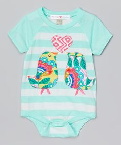 Look at this mini scraps Teal & White Stripe Love Birds Bodysuit - Infant on #zulily today!