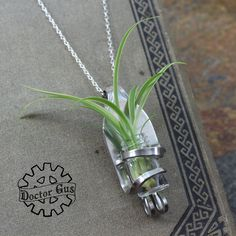 Living Fork Pendant - Living Jewelry - Handcrafted Upcycled Stainless Steel Fork - Unique Wedding Idea - Flower Bud Vase Corsage Boutonniere by doctorgus on Etsy