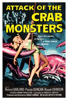 Attack of the Crab Monsters - Horror Monster Movie Poster Print 13x19 - Vintage B Movie Poster - 50s kitsch by jangoArts, $19.50