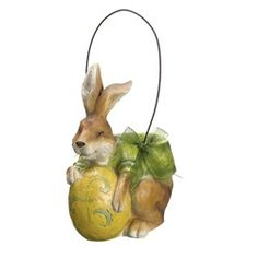 Sweet Delights Holiday Bunny Rabbit Basket with Easter Egg Decoration